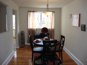 Vacant dining room after staging