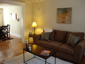 Vacant living room after staging